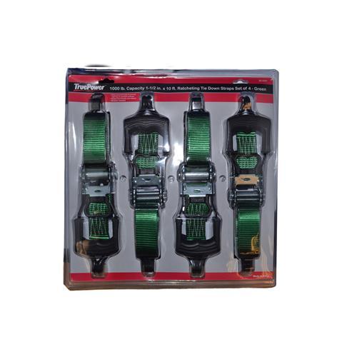 "Wholesale 4pk 1-1/2""x10' RATCHET TIE DOW"