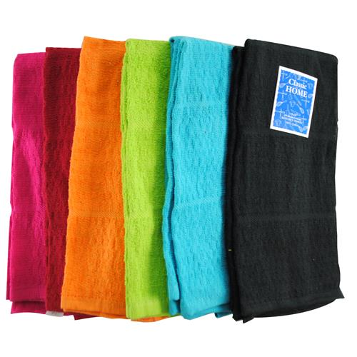 Wholesale Bright Kitchen Towel 6 ass't Solid Colors 15x25""