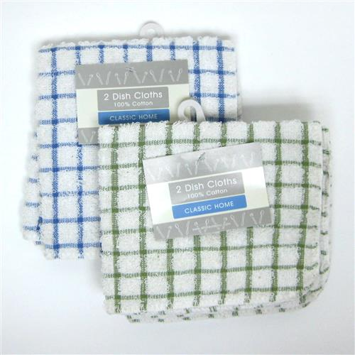 "Wholesale Dish Cloth Checked 12"""""""" x 12"""""""" 2 Pack Assorted Col"