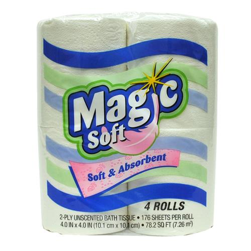Wholesale 4pk Magic Soft Bath Tissue (176sheets/2 ply)