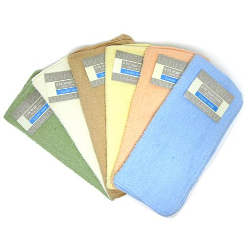 "Wholesale Wash Cloth Solid 11"""""""" x 11"""""""" 4 Pack Assorted Color"