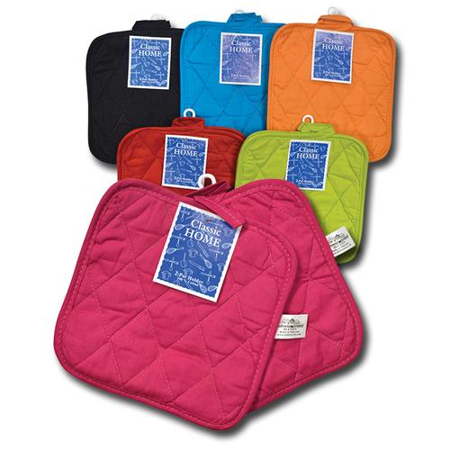 "Wholesale 2 Pk Bright Solid Woven Pot Holder Assorted Colors 8"" x 8"""