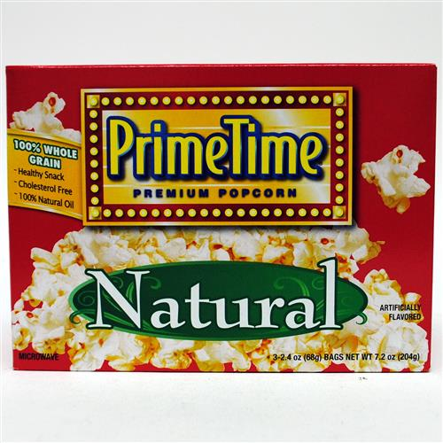 Wholesale Prime Time Natural Microwave Popcorn 3pk