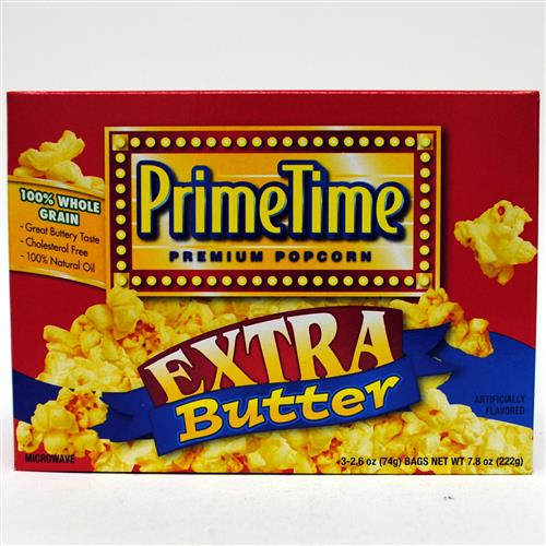 Wholesale Prime Time Extra Butter Microwave Popcorn 3pk