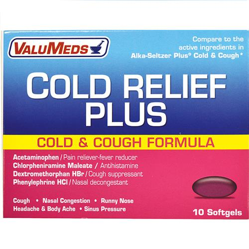 Wholesale Value Meds Cold Plus Liquid Gels - 10ct  Compare to Alka Seltzer Orange