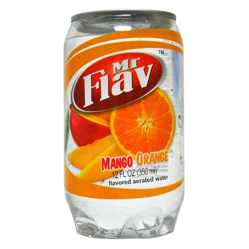 Wholesale Mr Flav Mango-Orange Fruit Flav Aerated Water - Clear Plastic Can