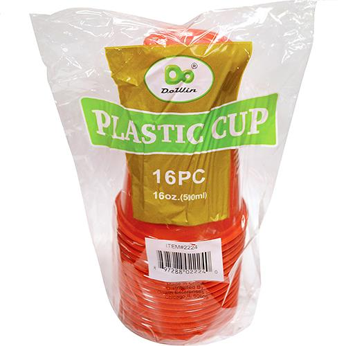 Wholesale Plastic Cups Translucent Red 16 oz
