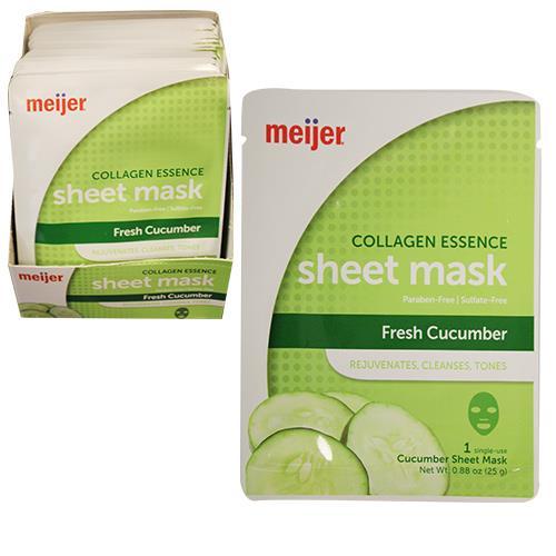 Wholesale MEIJER COLLAGEN ESSENCE SHEET MASK CUCUMBER - 1CT PER BOX  48 BOXES PER PDQ