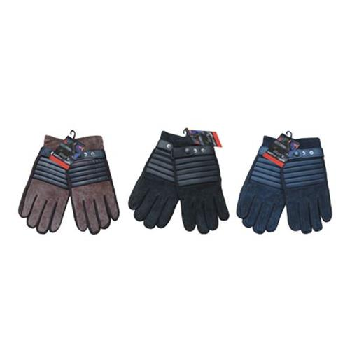 Wholesale SUEDE GLOVES W/STRAP - MENS ASS'T COLOR
