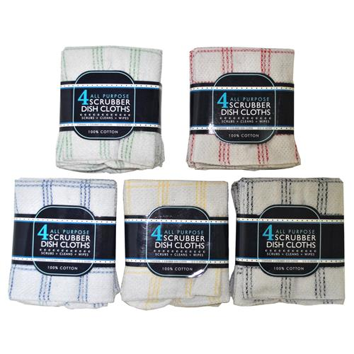 Wholesale 4 Pack 100% Cotton Dish Cloth with Mesh Scrubber