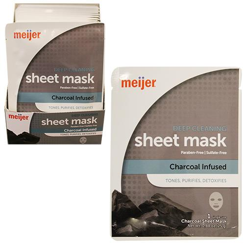 Wholesale MEIJER DEEP CLEANING SHEET MASK CHARCOAL - 1CT PER BOX  48 BOXES PER PDQ