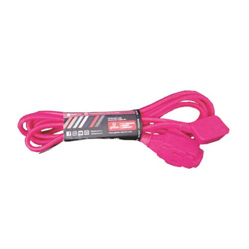 Wholesale Z9' EXTENSION CORD 16/2 FLAT PLUG PINK FABRIC COVER