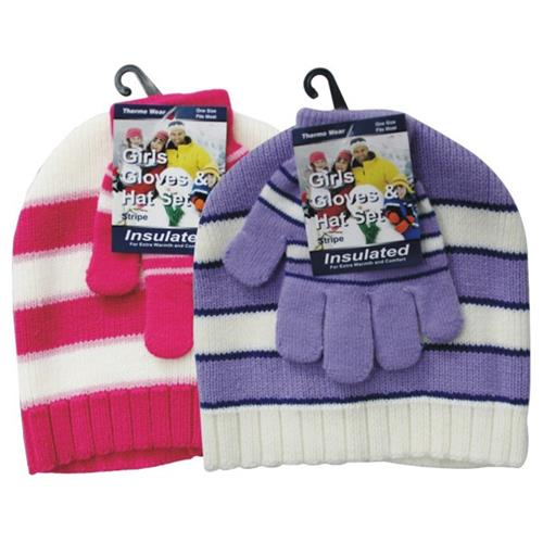 Wholesale Kids Hat & Mitten Set Asorted Prints