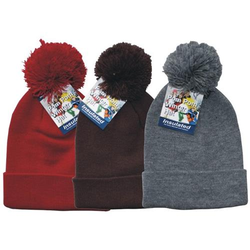 Wholesale Winter Hat w/Pom Pom's  in assorted colors