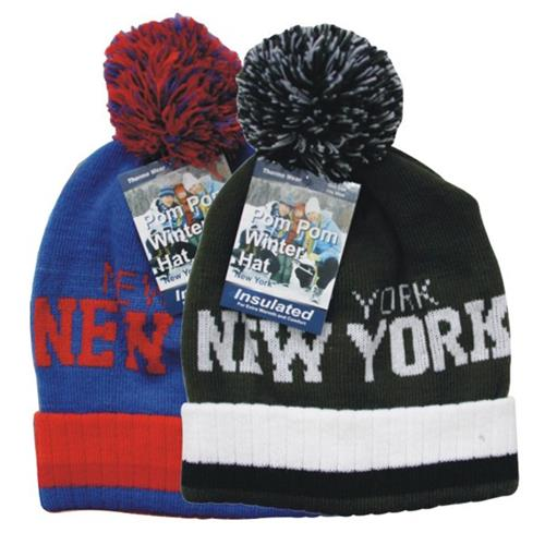 Wholesale Winter Hat Cuff NYC w/POM POM Assorted Colors