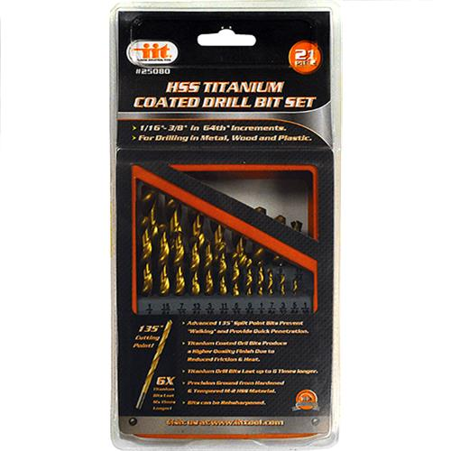 Wholesale 21PC HSS Titanium Coated Drill Bit Set