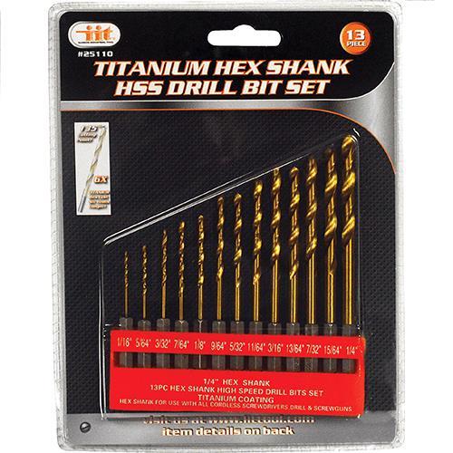 Wholesale 13PC Titanium Hex Shank HSS Drill Bit Set