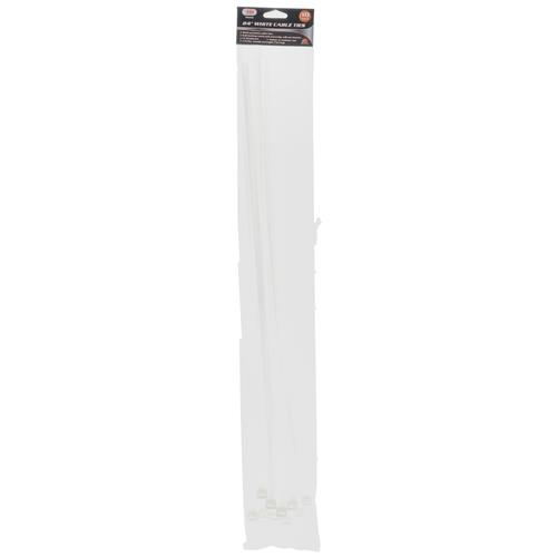 "Wholesale 10pk 24"" WHITE CABLE TIES"