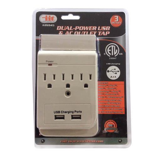 Wholesale 3 Outlet Dual-Power USB & AC Outlet Tap