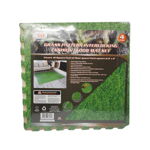 Wholesale 4PC GRASS PATTERN INTERLOCKING CUSHION FLOOR MAT SET