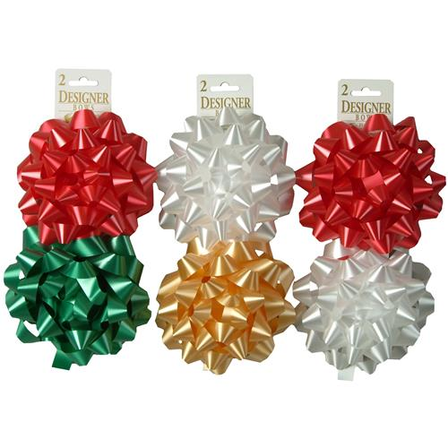 "Wholesale Christmas Giant 6"""" Assorted Bows on 2 Count Hang"