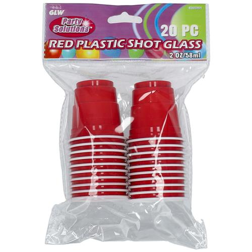 Wholesale 20pc 2oz RED PLASTIC SHOT GLAS