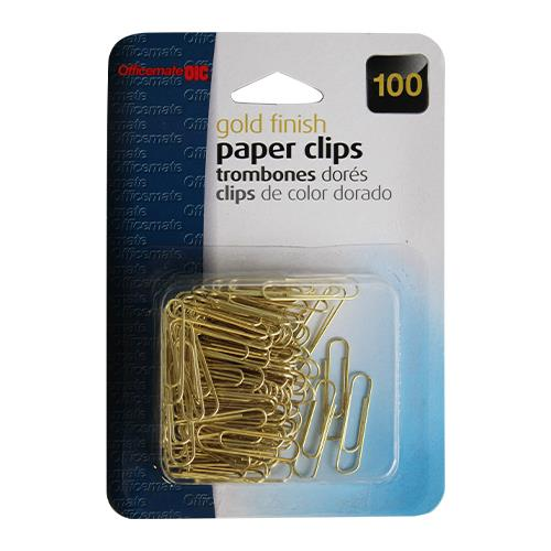 Wholesale OFFICEMATE 100CT PAPER CLIPS GOLD FINISH