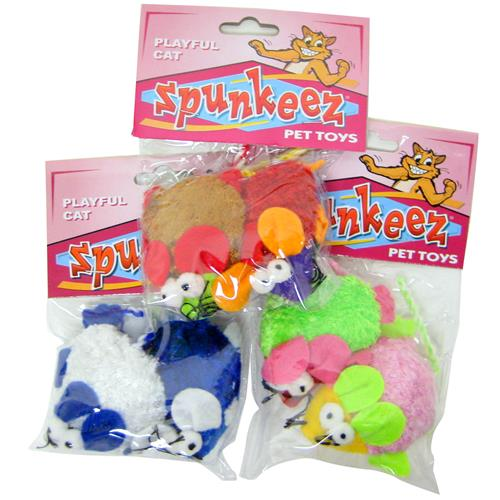 Wholesale Spunkeez Cat MIce 2pk Assorted Colors