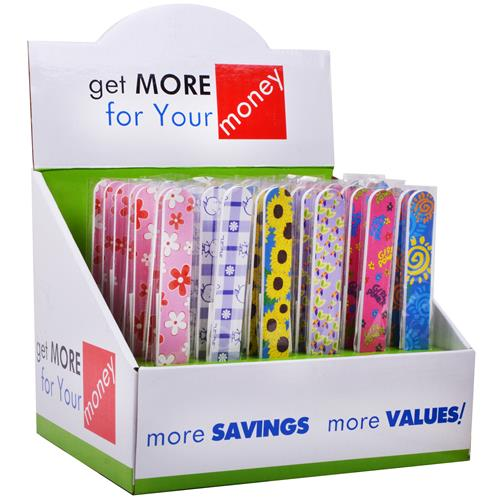 Wholesale Nail File - Assorted prints and colors in Counter Display