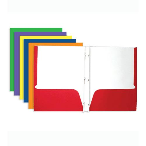 Wholesale 2-Pocket Portfolio with 3-Prong Fastener Assorted