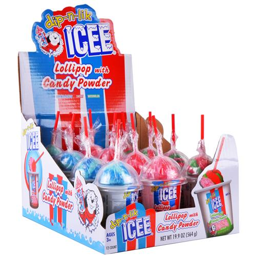 Wholesale Icee Dip-N-Lik Lollipop with Candy Powder Assorted Flavors  in CD