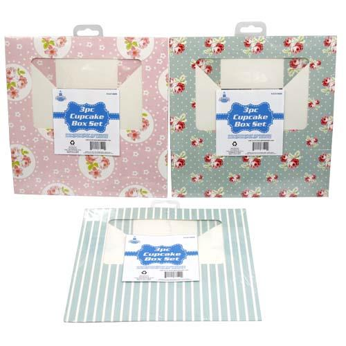 Wholesale 3pc CUPCAKE BOX SET