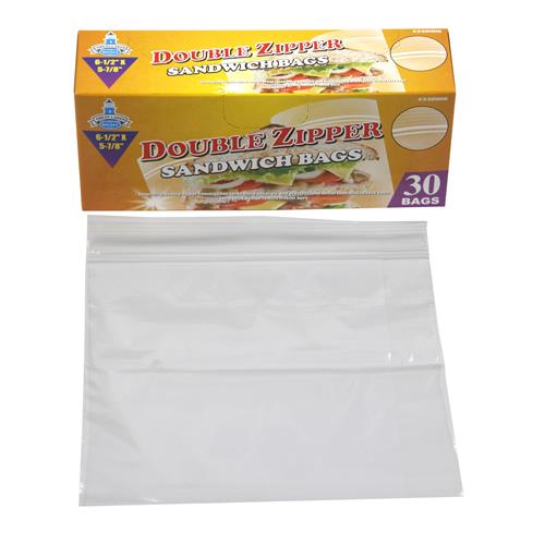 Wholesale 30pc DBL ZIPPER SANDWICH BAGS