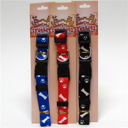 "Wholesale Spunkeez Adjustable Collar Paw/Bone Print 5/8"""" x"