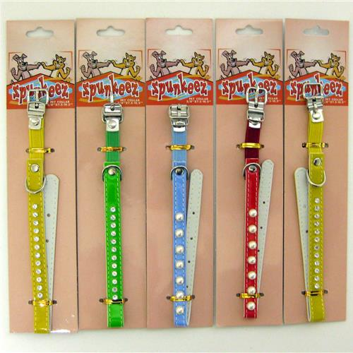 "Wholesale Spunkee Cat Collar with Jewels 10.5"""" Assorted Col"