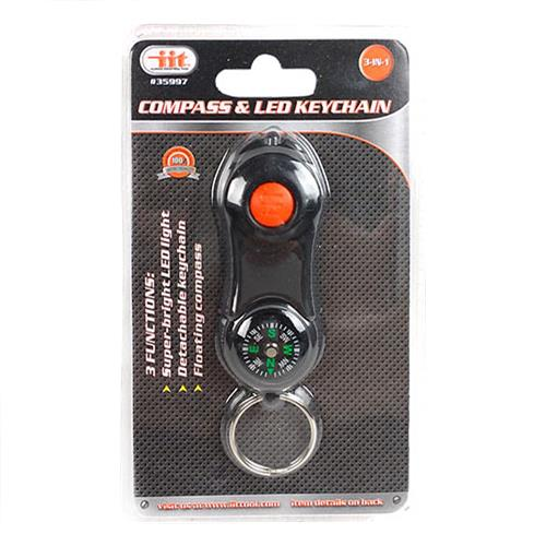 Wholesale 3-in-1 Compass & LED Keychain