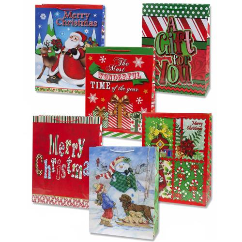 Wholesale Glossy Christmas Gift Bag Collection 6 Assorted- S