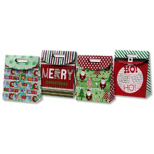Wholesale Foldover Christmas Bag with Die-cut Handle 4 Assor