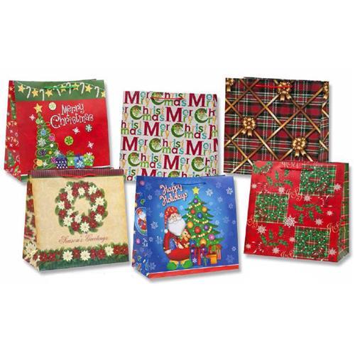 Wholesale matte christmas gift bag assorted horizontal