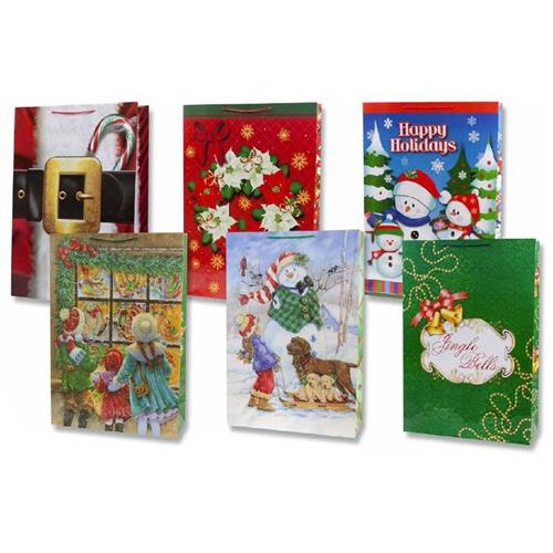 Wholesale Extra Tall Christmas Gift Bag 6 Assorted- Super G