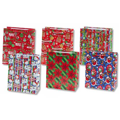 Wholesale Glossy Christmas Gift Bag Collection 6 Assorted- J