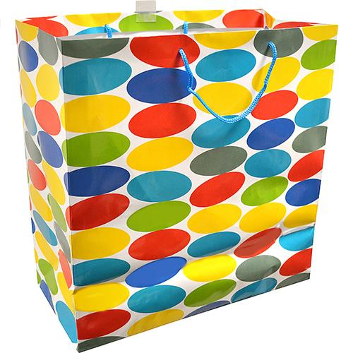"Wholesale Hallmark Gift Bag Colored Dots 12x14.5x6.75""  X-large."