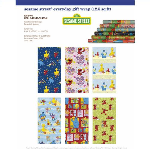 Wholesale Everyday Wrap Sesame Street 12.5 Square Feet PP $3.99