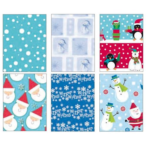 "Wholesale Christmas Roll Wrap 6 Assorted 16'x30"""" 40 Sq Ft"