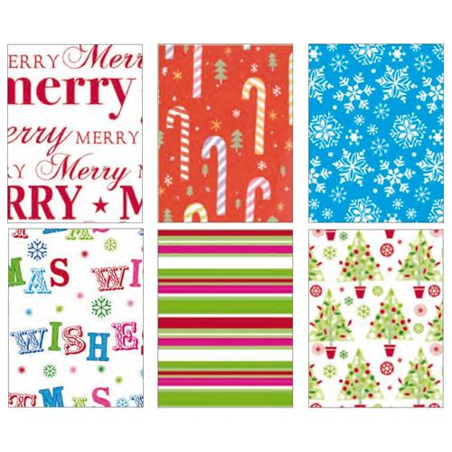 Wholesale Contemporary Christmas Roll Wrap 6 Assorted 16'X30