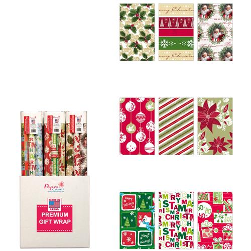 "Wholesale 120 Sq Ft Trio Christmas Wrap Pack 30"" Wide 3 Assorted (40 SqFt/Rl)"