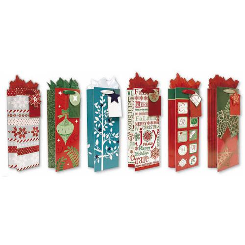 Wholesale CMAS BOTTLE GIFT BAG W/ TISSUE 6 ASST