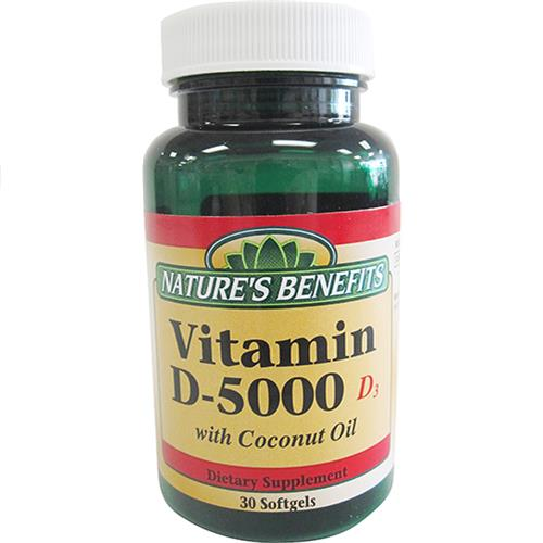 Wholesale Nature's Benefits Vitamin D3 - 5000 IU w/Coconut Oil