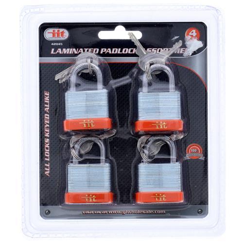 """Wholesale 4pc 1-1/4"""" LAMINATED PADLOCK KEY/ALIKE"""