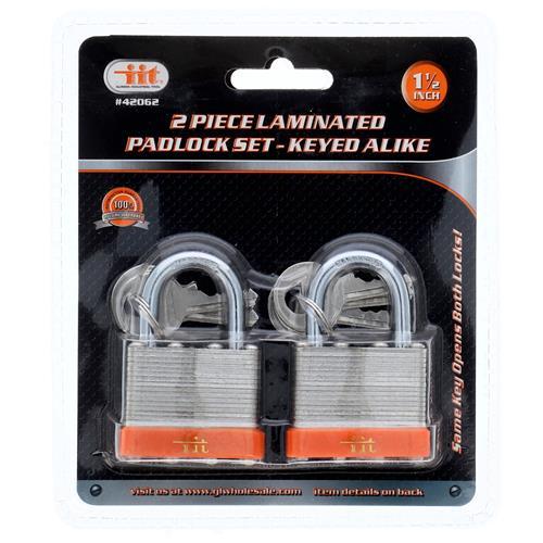 """Wholesale 2PC 1-1/2"""" Laminated Padlock Keyed Alike"""